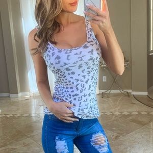 Current Elliott Leopard Gray Perfect Tank Top